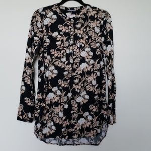 Floral tunic button down top Size XS